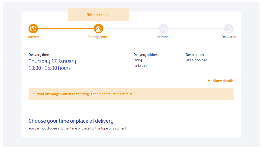 the same package claiming it will be delivered yesterday